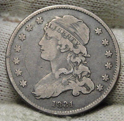 1831 Capped Bust Quarter 25 Cents -  Nice Coin, Free Shipping. (5543)