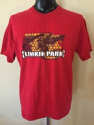 Vintage 2001 Linkin Park Rock Band T-Shirt Red Size Large Rap Rock & Roll