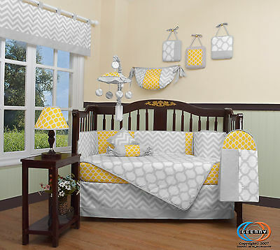 Baby Yellow & Gray Chevron 13 Piece Nursery CRIB BEDDING SET