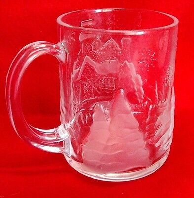 "Arcoroc ""Welcome Home"" Embossed and Frosted Christmas Mug France"