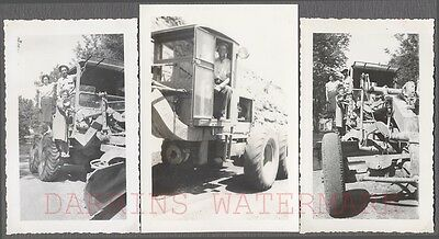 Lot of 3 Vintage Photos Family w/ Caterpillar Diesel Road Grader Tractor 732387