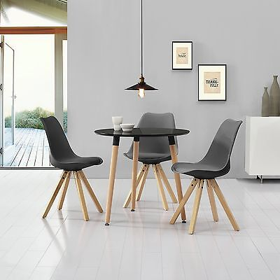 [en.casa] Dining table black with 3 Chairs grey Ø80cm area Faux leather