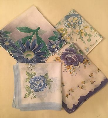 Vintage Lot of 4 Blue Floral Hankies Gold Scallops Pretty!