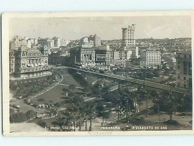 old rppc CHEVROLET SIGN AND MANY BUILDINGS Sao Paulo Brazil HM1765