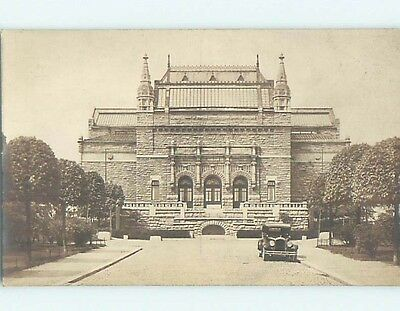 old rppc OLD CAR BY LARGE BUILDING Turun Taidemuseo - Turku Finland HM2224