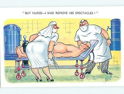 Bamforth comic signed NURSE REMOVES TESTICLES INSTEAD OF SPECTACLES HL3117