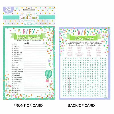Baby Shower Party Games Word Search Scramble (Pack Of 24 Sheets)