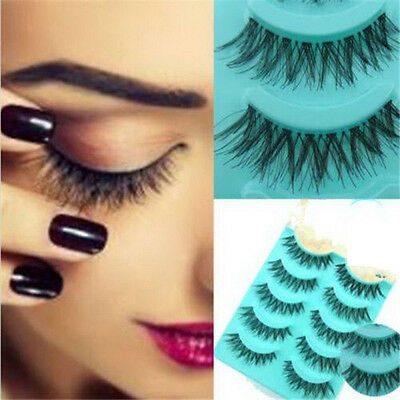 5 Or 10 Pairs Long Natural Thick Handmade Fake False Eyelashes Eye Lashes Makeup