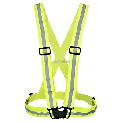 Adjustable Safety High Visibility Running Cycling Reflective Vest Gear Stripes 1