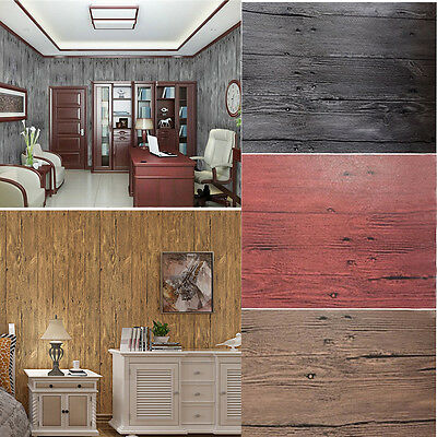 Chinese Style Plank Wood Grain PVC Wallpaper Bedroom Background  Wall Stripe