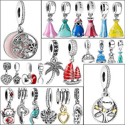 New Silver Charms Necklace Pendant Fit sterling 925 European Bead Bracelet Chain