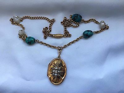 stunning 18k gold matrix turquoise chain with diamond And Pearl locket necklace