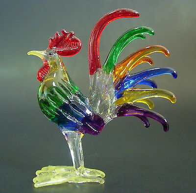 Glass COCKEREL CHICKEN HEN ROOSTER Multi Coloured Glass Animal Glass Ornament