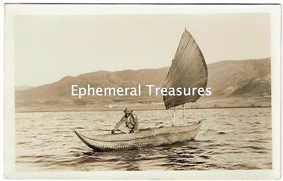 Bolivia Native Fishing Boat - Original 1920s Pierola Real Photo Postcard