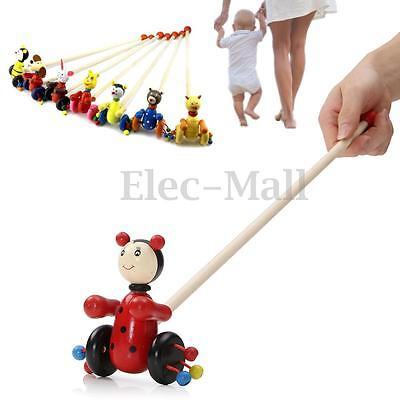 Baby Children Kids Wooden Bear Dog Animal Push Pull Along Walking Toy Toddler