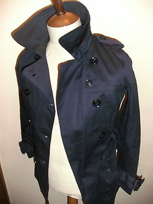 Superdry Trench Coat Jacket Size Ladies X Small Size 6-8 Blue