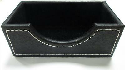 Mondo Executive Faux Leather Business Card Holder - Black Desk Accessory