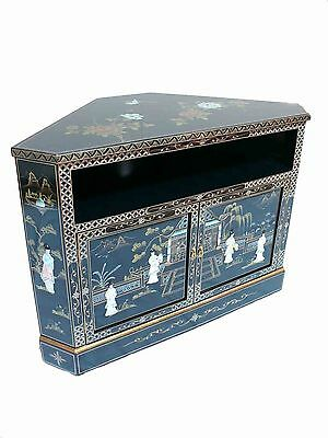 Black Lacquer with Mother of Pearl Corner TV Cabinet Oriental Furniture Chinese