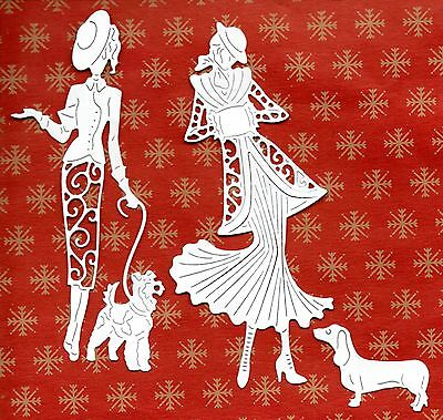 New Tattered Lace Winter Stroll Lady &  Dog Die Cuts - Topper-/christmas/mother