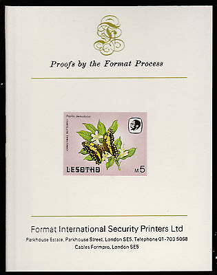Lesotho (600) 1984 Butterflies 5m imperf on Format International PROOF  CARD