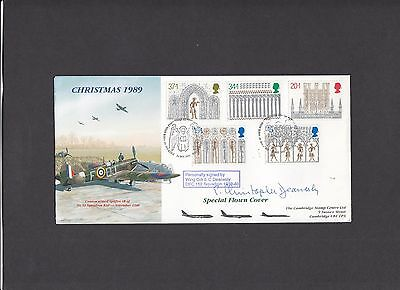 Christmas 1989 Cambridge Stamp Centre Flown signed First Day Cover