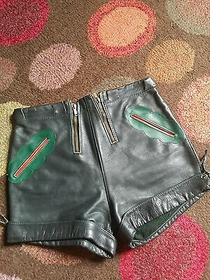 Rare Vtg 60s Pan's People Leather Hotpants Laderhosens,Fetish Burlesque.X-Small