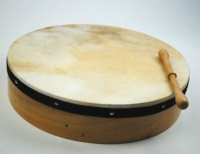 "Irish 16"" Bodhran Drum with Free Beater Natural Skin Made by Prokussion"
