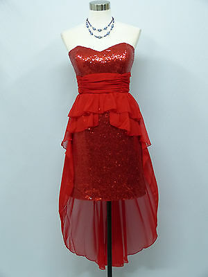 Cherlone Red Strapless Prom Ball Evening Bridesmaid Formal Knee Length Dress 12