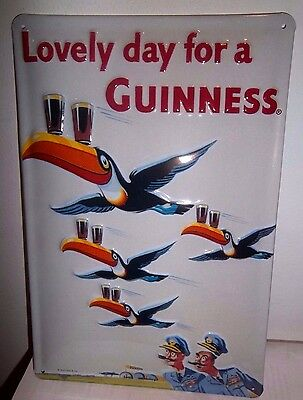 GUINNESS FLYING TOUCANS : EMBOSSED(3D) METAL ADVERTISING SIGN 30X20cm PUB/BAR