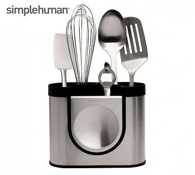 Simplehuman Brushed Steel Kitchen Utensil Holder Pot Storage - KT1040