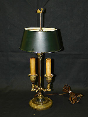 Antique C. 1800s French Owls & Rooster Bronze Bouillotte Lamp