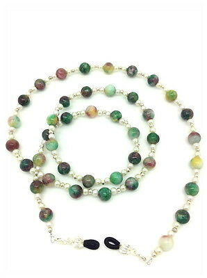 Hand Crafted Beaded Spectacle / Glasses Chain /Necklace. Marble Green Brown SB04
