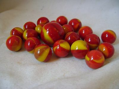 NEW RED DEVIL RED & YELLOW MARBLES ONE LARGE SHOOTER 25mm & 20 SMALL 16mm NET