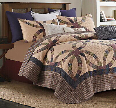 PRIMITIVE WEDDING RING King QUILT SET : COUNTRY CABIN BROWN GREEN  BLUE PLAID