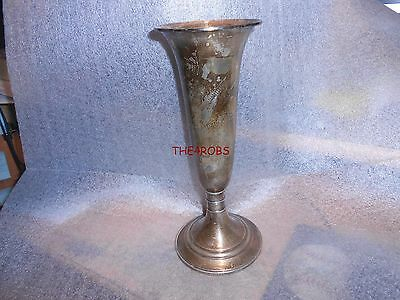 "Vintage Gorham 643 Weighted Sterling Silver Trumpet Vase 9 1/2"" Tall 412 Grams"