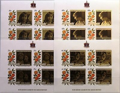 AITUTAKI 1985 Klb 559-62 U MS 373-76 IMPERF 85th Bday Queen Mother Royals MNH