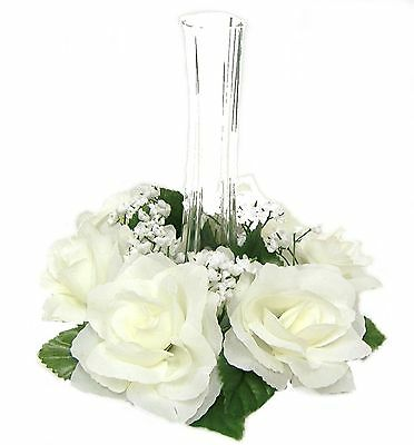 Candle Rings ~ IVORY CREAM ~ Silk Wedding Flowers Centerpieces Decorations Party