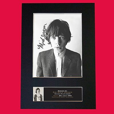 MICK JAGGER Signed Autograph Mounted Photo Reproduction PRINT A4 644