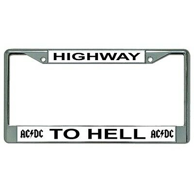 ac/dc highway to hell music band logo chrome license plate frame made in usa