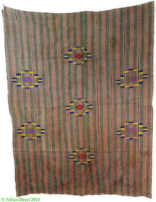 Nupe Handwoven Cloth Weft Patterns Pink Nigeria African Art
