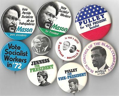 9 Pin Lot SOCIALIST WORKERS Button THIRD PARTY Pinback LABOR CAUSE 1968 CAMPAIGN