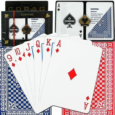 Copag™ Poker Size REGULAR Index - Pinochle setup Red and Blue 100% Plastic