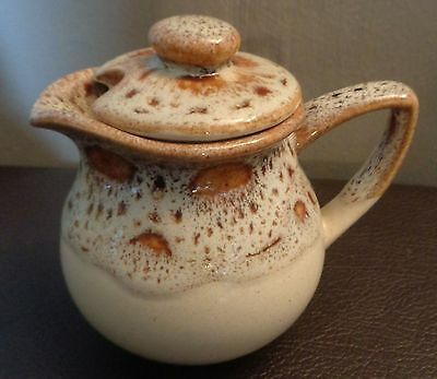 Fosters pottery of Redruth Cornwall honeycomb design mustard / jam pot with Lid