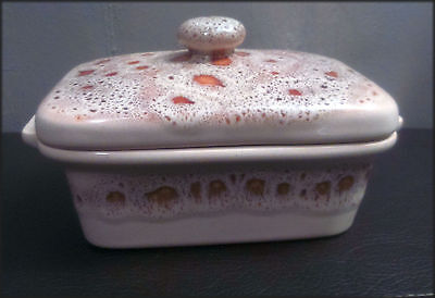 Fosters pottery of Redruth Cornwall - honeycomb design - butter dish and lid
