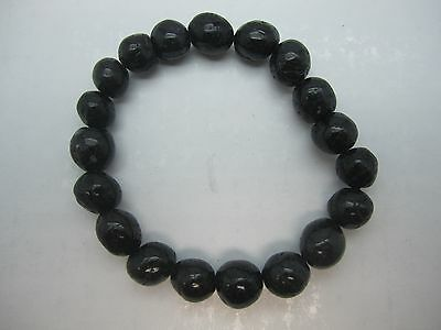 "Unique 7"" Polished Black Tourmaline  Bead Stretch  Bracelet - Best Price"