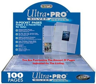 Trading Card A4 Sleeves 100 Ultra Pro Silver Series 9 Pocket Storage Pages