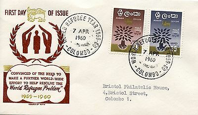 1960 Ceylon  world refugee year  First day Cover. Colombo 7 April 60 brown print