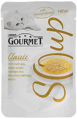 Gourmet Adult Cat Soup Wet Food Pouch Finely Sliced Chicken, 32 x 40 g
