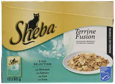 Sheba Terrine Fusion Cat Food Pouches, 12 x 85 g - Fish Selection in Terrine, Pa