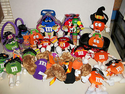 Lot of Collectible M & M's Halloween Tins Toys Plush Stuffed Figures Bears M M